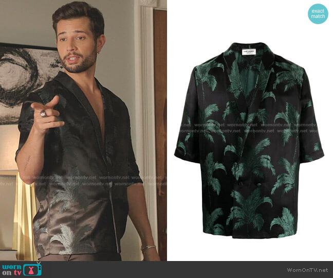 Shawl-Lapel Silk-Jacquard Shirt by Saint Laurent worn by Sam Flores (Rafael de la Fuente) on Dynasty