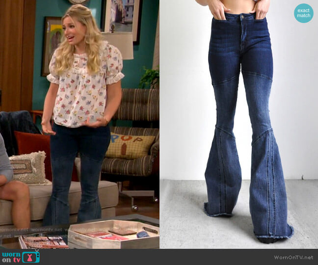 Saints & Hearts Panel Ombre Super Flares worn by Gemma (Beth Behrs) on The Neighborhood
