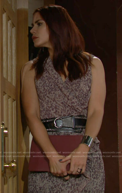 Sally's sleevleess leopard print wrap dress on The Young and the Restless