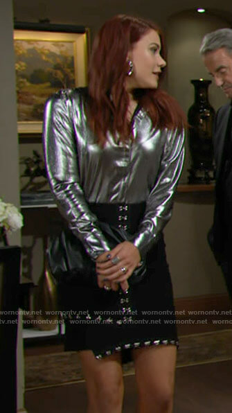 Sally's silver shirt and black embellished skirt on The Young and the Restless
