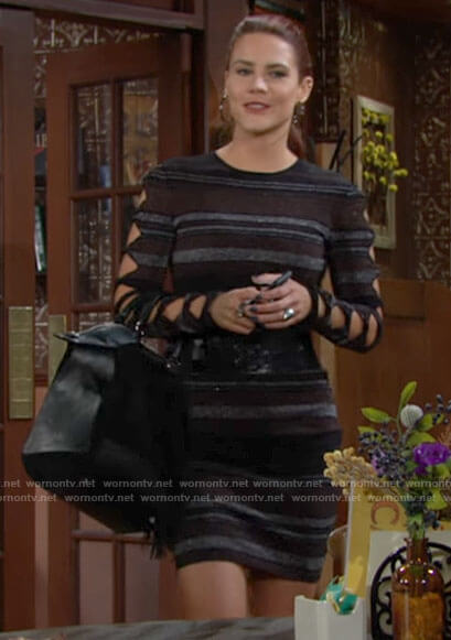 Sally's striped dress with cutout sleeves on The Young and the Restless