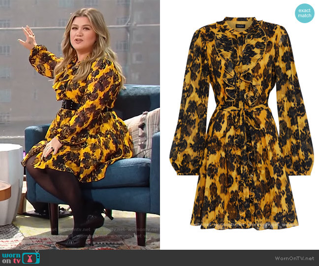Tilly ruffled printed burnout crepe de chine mini dress by Saloni worn by Kelly Clarkson  on The Kelly Clarkson Show