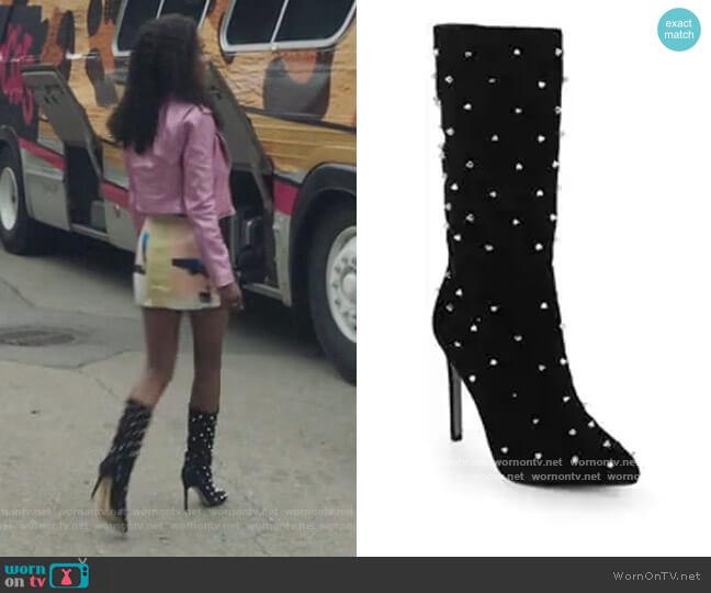 Waylyn Studded Tall Boots by Sam Edelman worn by Josie McCoy (Ashleigh Murray) on Riverdale
