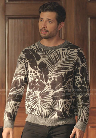 Sam's leaf print sweater on Dynasty
