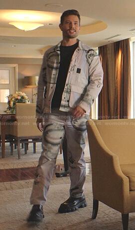 Sam's glass print jacket and pants on Dynasty