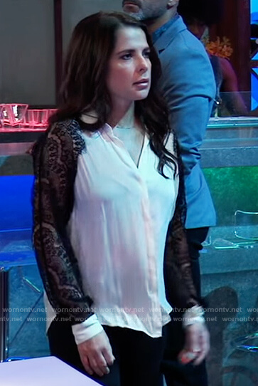 Sam's white contrast lace blouse on General Hospital