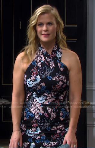 Sami's black floral halter dress on Days of our Lives
