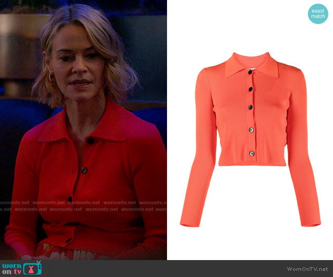 Sandro Francoise cropped cardigan with shirt collar worn by Alice Pieszecki (Leisha Hailey) on The L Word Generation Q