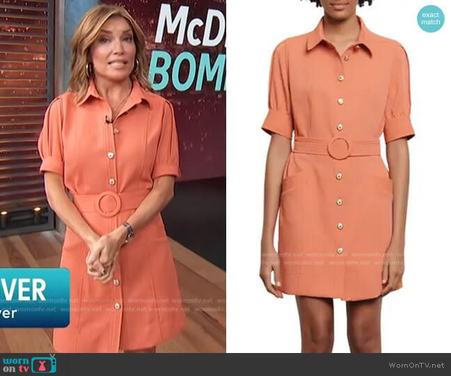 Joody Belted Short Sleeve Minidress by Sandro worn by Kit Hoover  on Access Hollywood