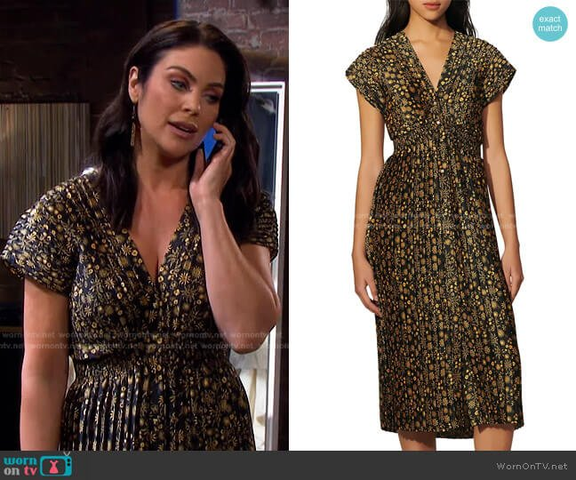 Vienne Leopard A-Line Dress by Sandro worn by Chloe Lane (Nadia Bjorlin) on Days of our Lives