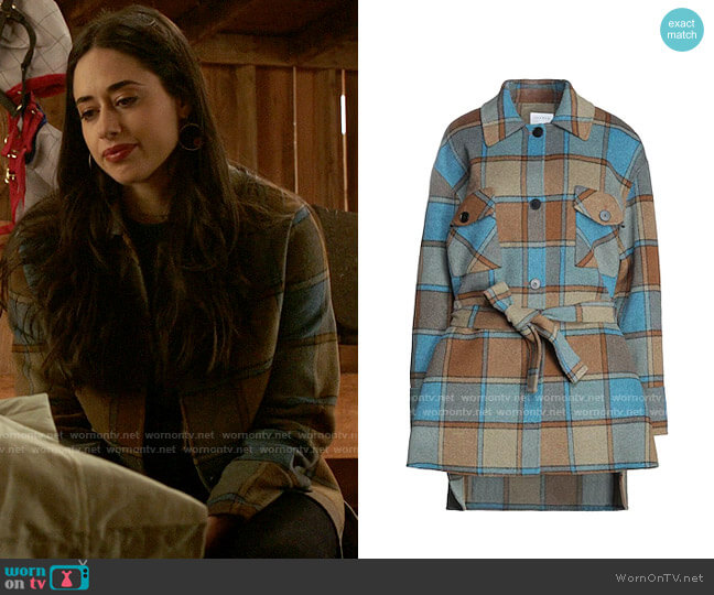 Sandro Vana Check Coat worn by Liz Ortecho (Jeanine Mason) on Roswell New Mexico