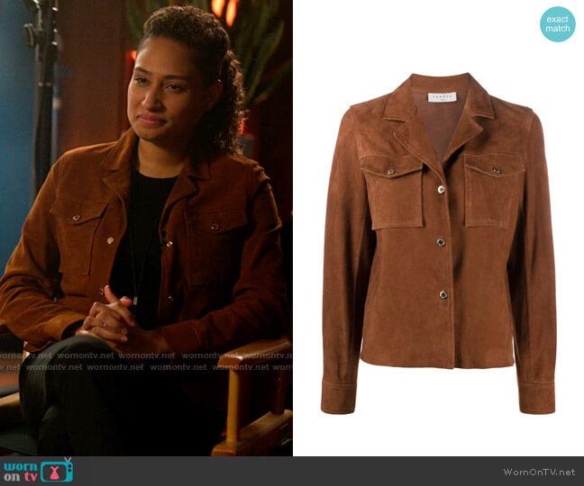 Sandro Suede Boxy Fit Jacket worn by Sophie Suarez (Rosanny Zayas) on The L Word Generation Q