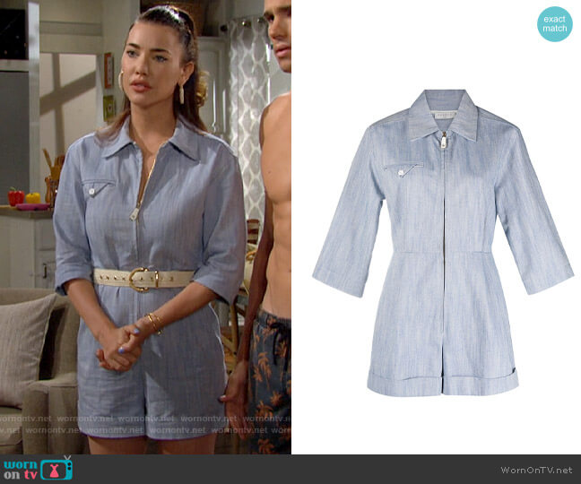 Sandro Zipped Shirt Playsuit worn by Steffy Forrester (Jacqueline MacInnes Wood) on The Bold & the Beautiful