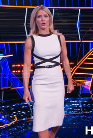 Sara's white leather-trim dress on The Chase