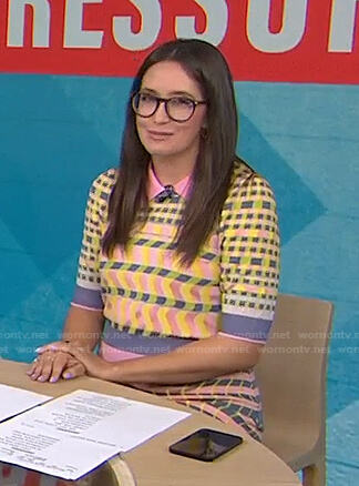 Savannah Sellers's check polo sweater and skirt on Today