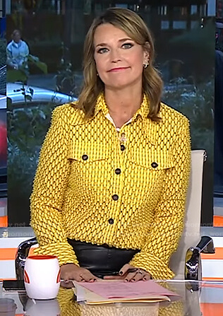 Savannah's yellow perforated button front blouse on Today