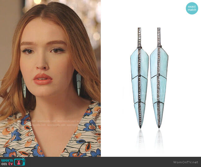 Pearl Turquoise Enamel Feather Earrings by S. Carter Designs worn by Kirby Anders (Maddison Brown) on Dynasty