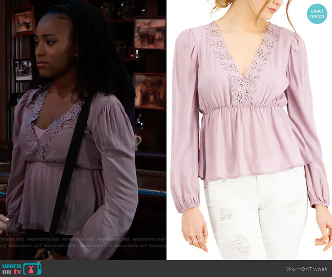 Juniors Lace-Trimmed Empire-Waist Top by Self Esteem worn by Trina (Sydney Mikayla) on General Hospital