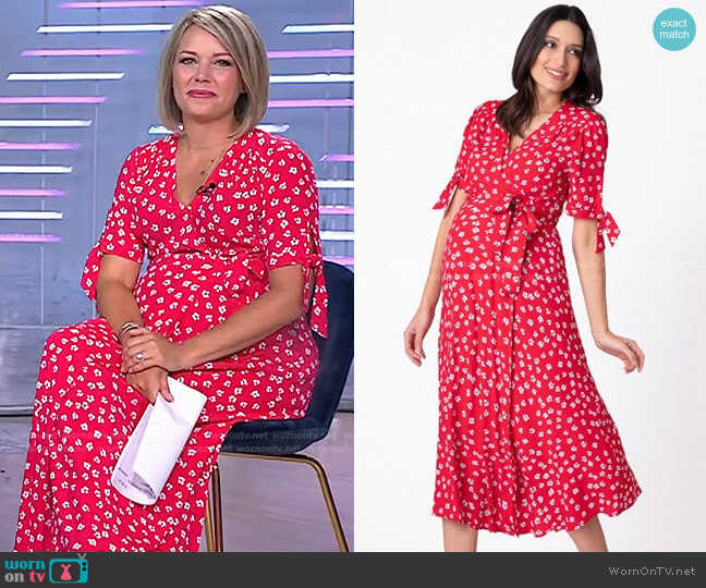Midi Wrap Maternity Dress by Seraphine worn by Dylan Dreyer  on Today