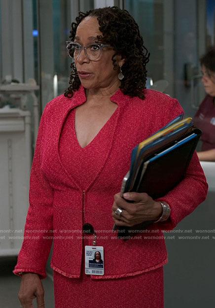 Sharon's pink dress and jacket set on Chicago Med