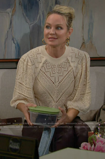 Sharon's cream pointelle top on The Young and the Restless