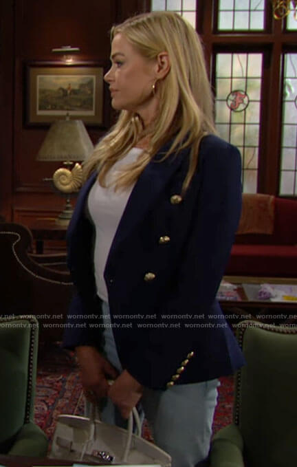 Shauna's navy blazer with gold buttons on The Bold and the Beautiful