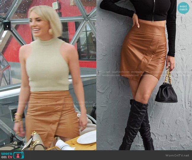 Faux Leather Asymmetrical Hem Skirt by Shein worn by Whitney Rose  on The Real Housewives of Salt Lake City