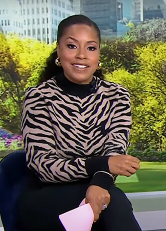 Sheinelle's zebra sweater and chain ankle strap pumps on Today