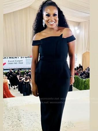 Sheinelle's black off-shoulder dress on Today