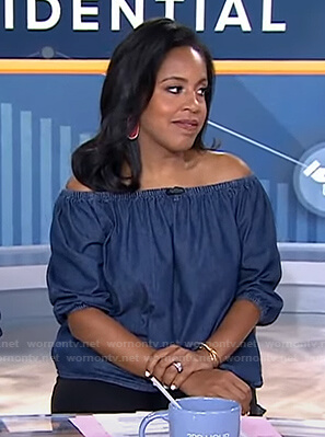 Sheinelle's blue chambray off-shoulder top and earrings on Today