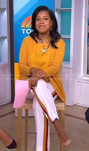 Sheinelle's yellow cardigan and white side stripe pants on Today