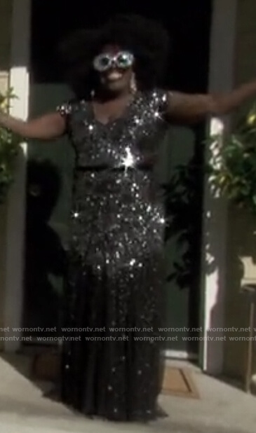 Sheryl's black embellished gown on The Talk