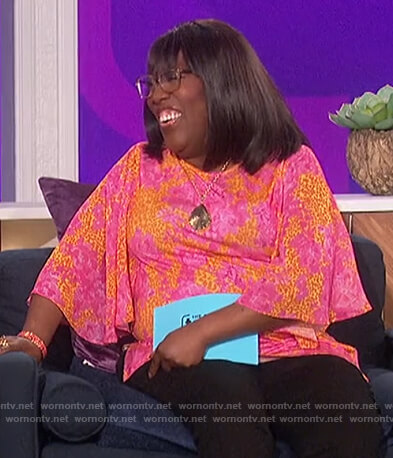 Sheryl's pink floral top on The Talk