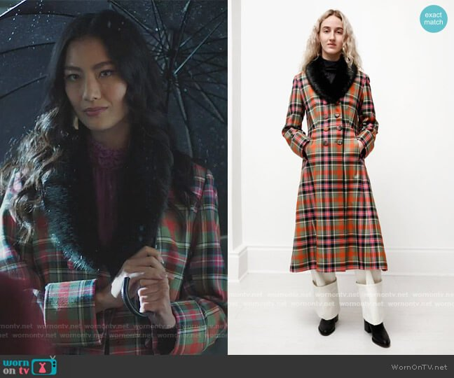 Constantine A-Line Plaid Coat by Shrimps worn by Adeline Rudolph on Riverdale