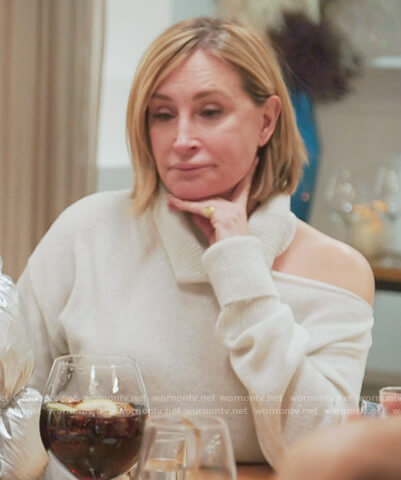 Sonja's white shoulder cutout sweater on The Real Housewives of New York City