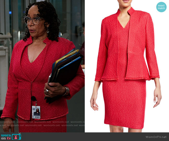 St John Collection V-Neck Refined Knit Bodycon Dress and Jacket worn by Sharon Goodwin (S. Epatha Merkerson) on Chicago Med