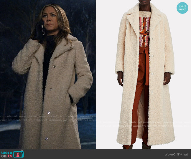 Stand Studio Kylie Coat worn by Alex Levy (Jennifer Aniston) on The Morning Show