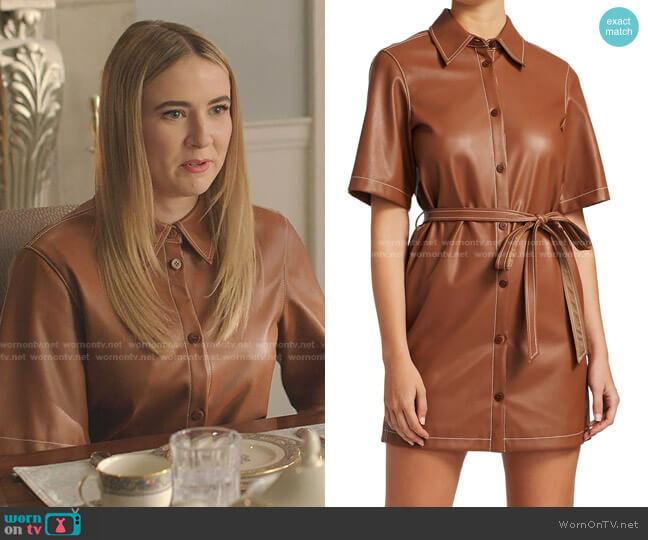Blaze Faux-Leather Belted Dress by Staud worn by Amanda Carrington (Eliza Bennett) on Dynasty