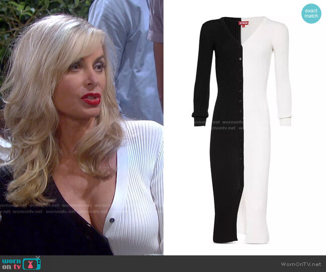 Shoko Color Block Ribbed Sweater Dress by Staud worn by Kristen DiMera (Eileen Davidson) on Days of our Lives