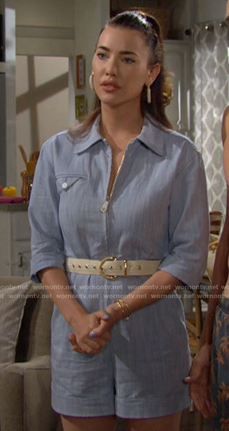 Steffy's blue zip up romper on The Bold and the Beautiful