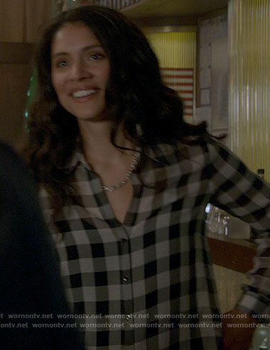 Violet's pink t-shirt with red trim on Chicago Fire