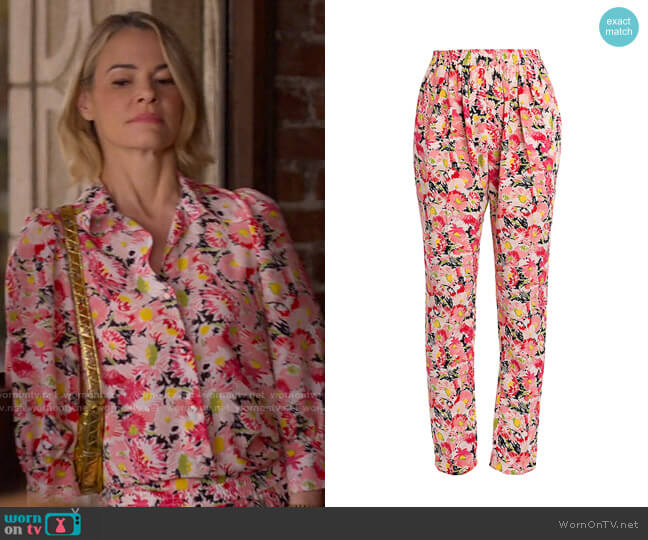 Stella McCartney Christine Watercolor Floral Silk Trousers worn by Alice Pieszecki (Leisha Hailey) on The L Word Generation Q