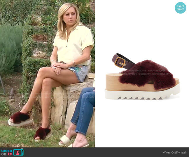 Elyse faux-shearling platform sandals by Stella McCartney worn by Sutton Stracke  on The Real Housewives of Beverly Hills