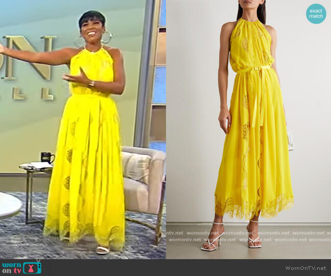 Lace-trimmed silk maxi dress by Stella McCartney worn by Tamron Hall  on Tamron Hall Show