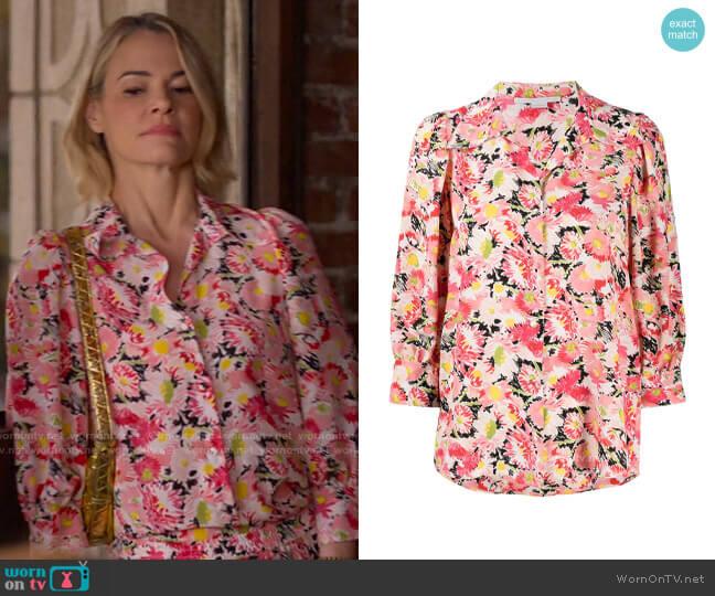 Stella McCartney Floral Print Crop Sleeve Blouse worn by Alice Pieszecki (Leisha Hailey) on The L Word Generation Q