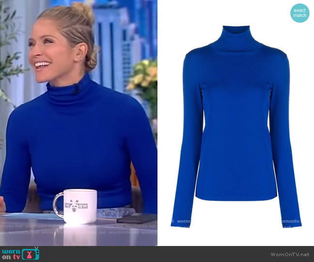 Funnel-neck long-sleeve top by Stella McCartney worn by Sara Haines  on The View