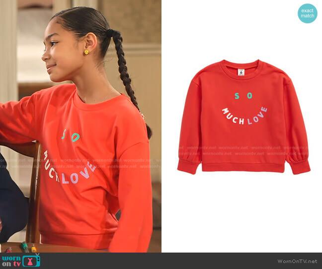 So Much Love Graphic Sweatshirt by Stem worn by Ami (Jordyn Raya James) on Family Reunion