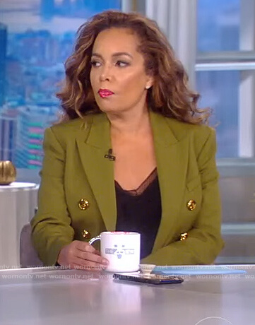 Sunny's green double breasted blazer on The View