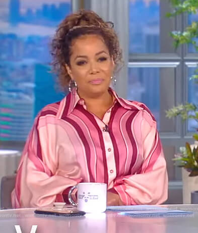 Sunny's pink stripe blouse on The View