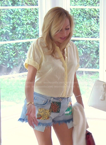 Sutton's yellow shirt and patchwork denim shorts on The Real Housewives of Beverly Hills